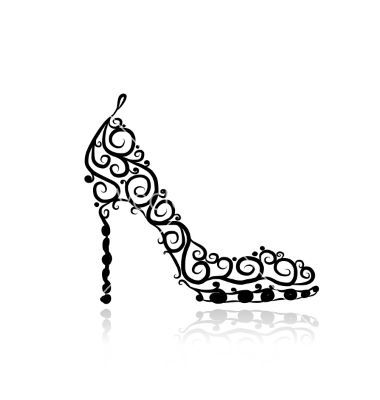 Shoe Sketch Female High Heel Shoes Sketch For Your Design Vector