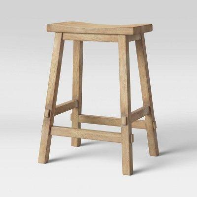 Halifax Farmhouse Wood Counter Stool Natural Wood Threshold Wood Counter Stools