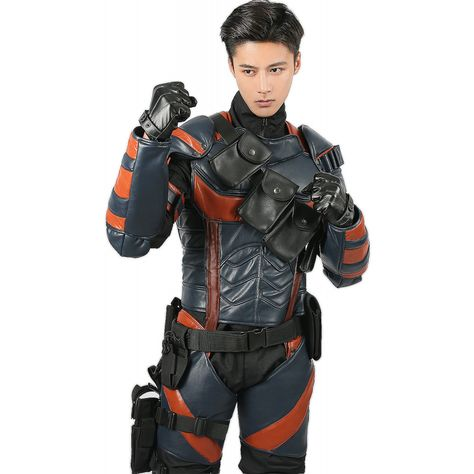 Batman Arkham Knight Deathstroke Armor Cosplay Costume Leather Fighter Men Party
