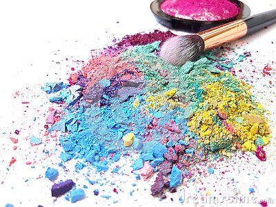 Makeup Brush And Crushed Eyeshadows On White Background Colorful