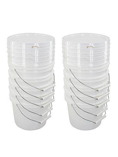 Bucket Kit Ten 1 Gallon Buckets With White Snap On Lids Round Bar Slat Wall Gallon