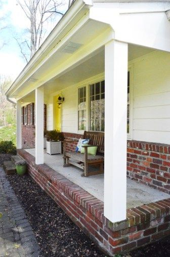 How We Boxed Out Our Old Curvy Porch Columns Young House Love House Columns Porch Columns Brick Columns