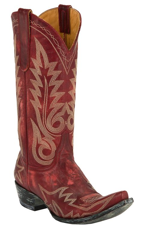 8682762cad9 Old Gringo® Ladies Nevada Red Distressed Fancy Stitched Snip Toe Cowboy  Boots