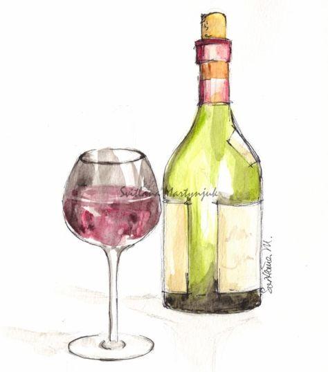 Drawing Glass Illustration Svitlana Martynjuk Watercolor Wine