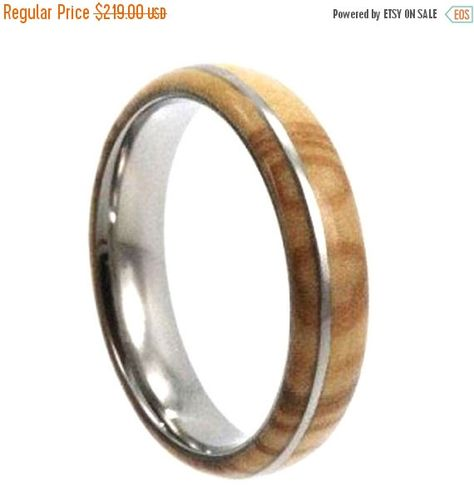 Wedding Sale Titanium Wood Ring With Highly Figured Olive Wood And