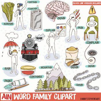 Ain Word Family Phonics Clipart Black Line Doodles Long A Vowel