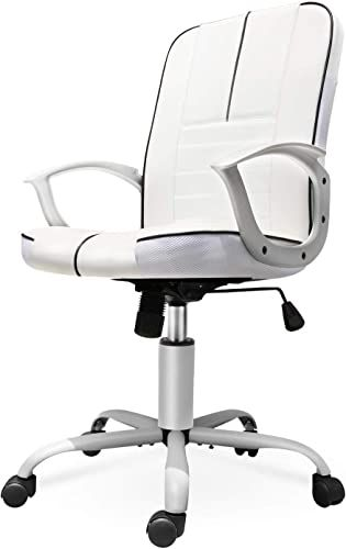 Best Seller Office Chair Leather Mid Back Home Office Chair Bonded Leather Computer Swivel Task Desk Chair White Online Prettytoppro In 2020 White Leather Office Chair Ergonomic Chair Leather Chair