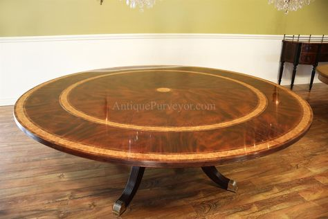 Large Round Mahogany Dining Room Table With Perimeter Leaves In