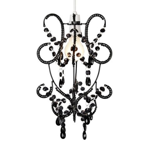 Vintage Style Black Beaded Ceiling Light Pendant Shade Chandelier