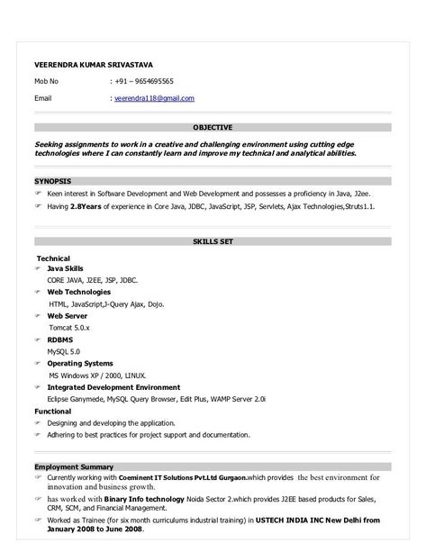 For 1 Year Experienced Resume Format Job Resume Samples Resume