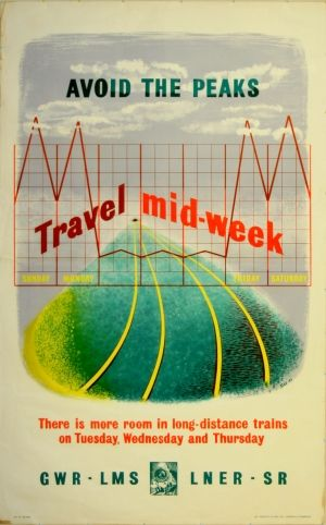 Avoid the Peaks, 1946 - original vintage poster for train travel on the GWR (Great Western Railway), LMS (London, Midland and Scottish Railway), LNER (London and North Eastern Railway) and SR (Southern Railway) networks, listed on AntikBar.co.uk