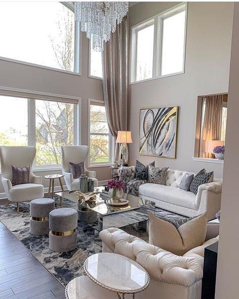 This Living Room Is Perfection All The Way Follow Totallyglamdecor Use In 2020 Chic Living Room Design Modern Chic Living Room Elegant Living Room Design