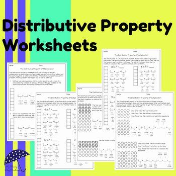 3rd Grade Distributive Property Worksheets Addition Property Worksheet Distributive Property Upper Elementary Math Math Properties