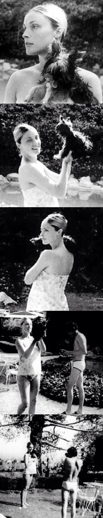 Sharon Tate with her dog Prudence and Jay Sebring at her Cielo Drive home in early August of 1969, Wojciech Frykowski took at least two of t...