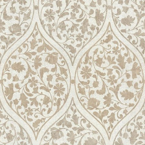 Adelaide Light Brown Ogee Floral Wallpaper design by Brewster Home Fas | BURKE…