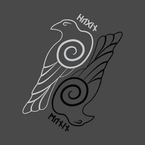 ODHIN and Ravens Runes T-shirt Vikings Odin Hugin et Munin Valhalla Vikings