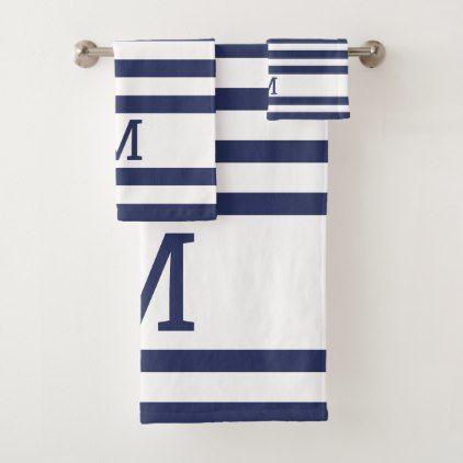 Monogrammed Navy Blue And White Striped Bath Towel Set Zazzle