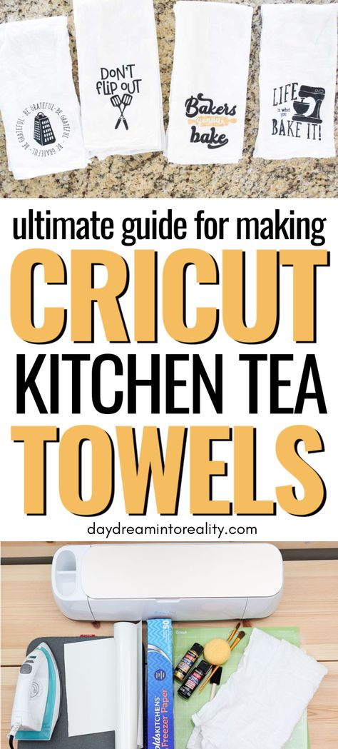 Cricut Kitchen Tea Towels with Iron-on or Freezer Paper Stencils