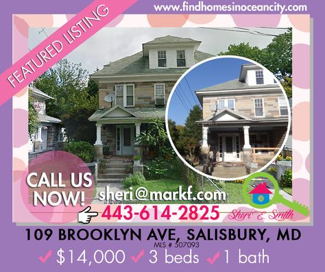 Featured Listing: #houseforsale :109 Brooklyn Ave, Salisbury, MD