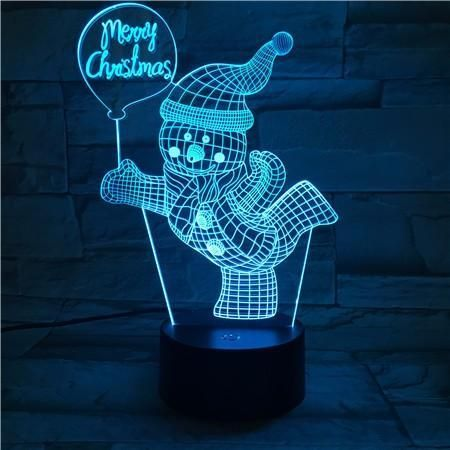 Merry Christmas Skiing Snowman Usb 3d Led Lights Colorful Touch Night Light Lampes De Nuit Led Luminaire