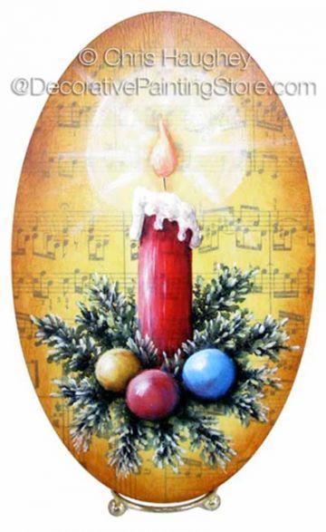 Christmas Candle Plaque ePattern - Chris Haughey - PDF DOWNLOAD  #PaintingEPattern #paintingpattern #candlepainting