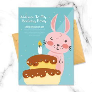 من ناحية رسم كعكة زرقاء تجارية أرنب وردي صغير الكرتون حيوان صغير دعوة عيد ميلاد الأطفال Pink Rabbit Rabbit Cartoon Childrens Birthday