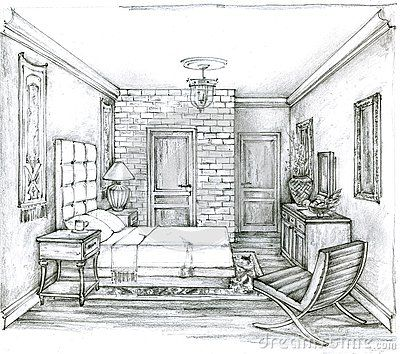 Monochrome Sketch Of A Traditional Bedroom Pencil Drawing Of A