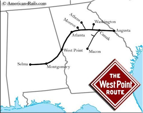 The West Point Route Was A Fondly Remembered Southern System - Atlanta to montgomery rail on map of us