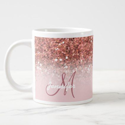 Personalized Girly Rose Gold Glitter Sparkles Name Giant Coffee