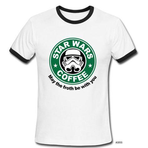Fashion Star Wars T Shirt Design Round Neck Ringer Short