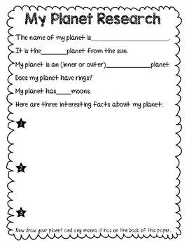 Planet Research Worksheet And Fact Sheets 2nd Grade 1st Grade Classroom Anchor Charts Science Facts Planets
