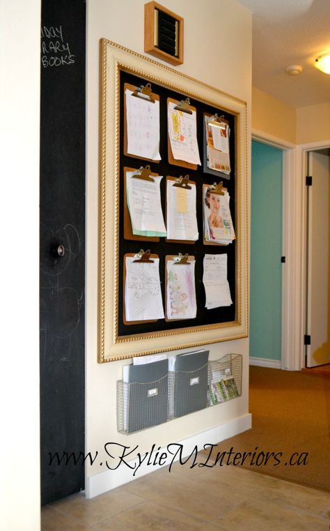 ideas for organizing and hanging kids artwork and schoolwork and school papers.