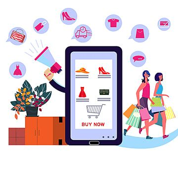 Women Customers Enjoying Shopping Online Online Shopping App Application Png And Vector With Transparent Background For Free Download In 2021 Pink Flowers Background Sale Banner Online