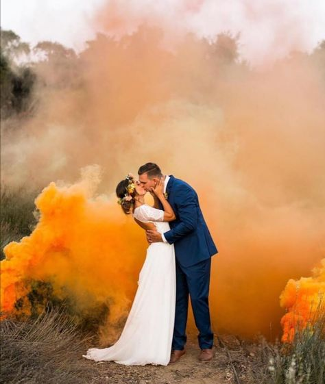 How fab is this orange smoke bomb image. Epic wedding photos using coloured smoke bombs are a great way to inject colour into your day as well as stage an epic wedding shot. Wedding Picture Poses, Funny Wedding Photos, Vintage Wedding Photos, Wedding Poses, Wedding Pictures, Wedding Ideas, Vintage Weddings, Lace Weddings, Wedding Dj