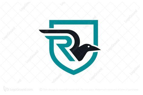 Exclusive Logo 28289, Raven Letter R Shield Logo