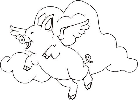 Flying Pig Coloring Pages Free Printable Animal Line Drawings
