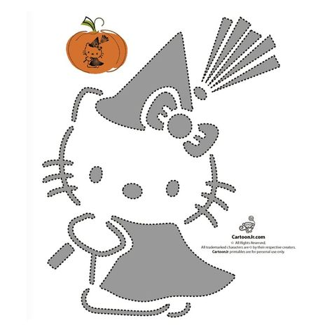 hello kitty pumpkin template  Free Hello Kitty Pumpkin Templates | Hello kitty halloween ...