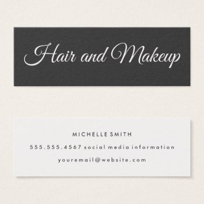 Fancy Font Minimalist Hair And Makeup Mini Business Card Artists Unique Spec Stylist Business Cards Hairstylist Business Cards Makeup Artist Business Cards