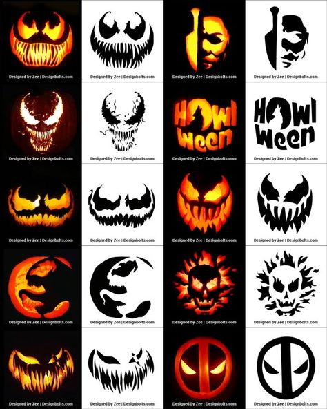Free Printable Halloween Pumpkin Carving Stencils, Patterns, Designs, Faces & Ideas Free P Scary Pumpkin Carving Patterns, Awesome Pumpkin Carvings, Halloween Pumpkin Carving Stencils, Disney Pumpkin Carving, Scary Halloween Pumpkins, Amazing Pumpkin Carving, Pumpkin Carving Templates, Pumpkin Painting, Halloween Halloween
