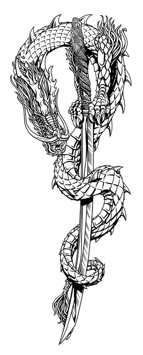 This is an updated design for a Gin-Ryu Trade Paperback collection of the 5 issue comic book series i inked about 13 years ago . Gin Ryu Dragon and Sword Japanese Tattoo Words, Japanese Tattoo Sleeve Samurai, Small Japanese Tattoo, Japanese Tattoo Meanings, Japanese Dragon Tattoos, Traditional Japanese Tattoos, Neo Traditional, Asian Dragon Tattoo, Chinese Tattoos