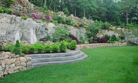 46 Ideas For Landscaping On A Hill Sloped Yard Decks Sloped Backyard Sloped Backyard Landscaping Landscaping Inspiration