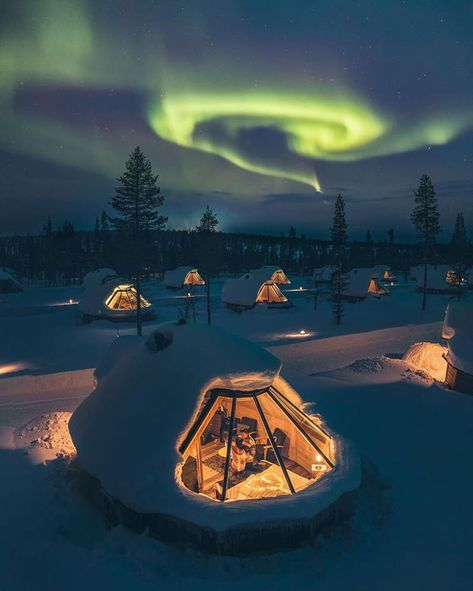 Northern lights spot in Lapland, Finland.