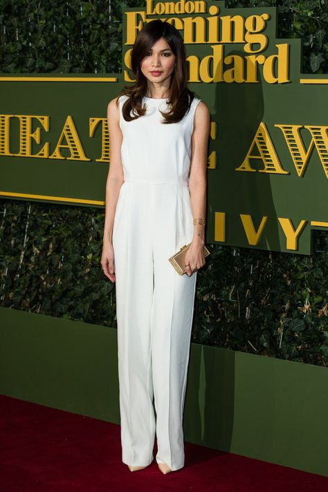 Pin for Later: Stars Braved the Cold For the Evening Standard Theatre Awards Gemma Chan