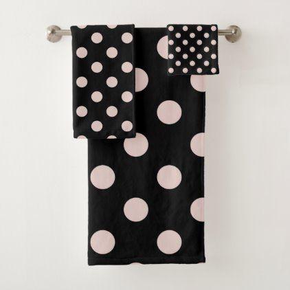 Black Blush Light Pink Polka Dots Dot Bath Towel Set Zazzle