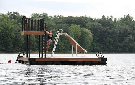 Wahoo Docks swim platform with fixed and retractable ladder and steps - plus a slide!