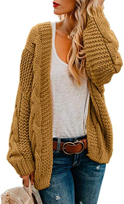 f81c3bc7e2d Women's Cable Knit Open Front Chunky Cardigan Sweaters Long Sleeve ...