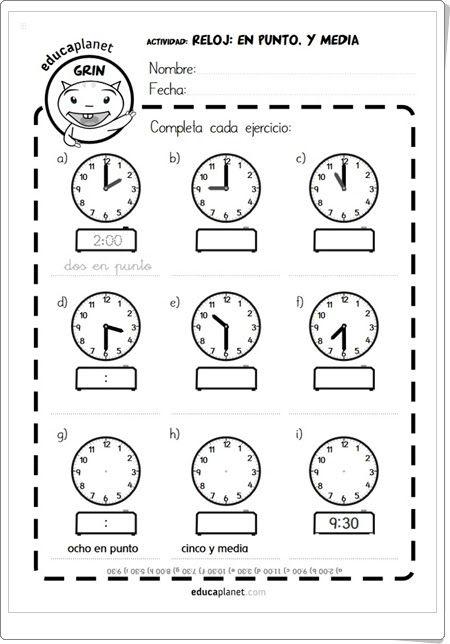 Fichas Reloj En Punto Y Media Educaplanet Aprender La Hora Actividades De Matematicas Fichas De Matematicas