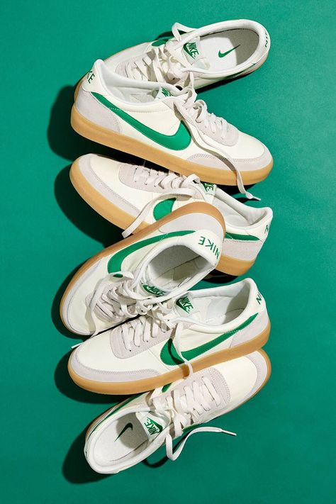 J crew x nike killshot sail green release info vintage retro sneakers shoes collaboration beaverton Sneaker Outfits, Converse Sneaker, Puma Sneaker, Sneakers Mode, Retro Sneakers, Shoes Sneakers, Shoes Men, Men's Shoes, Green Sneakers