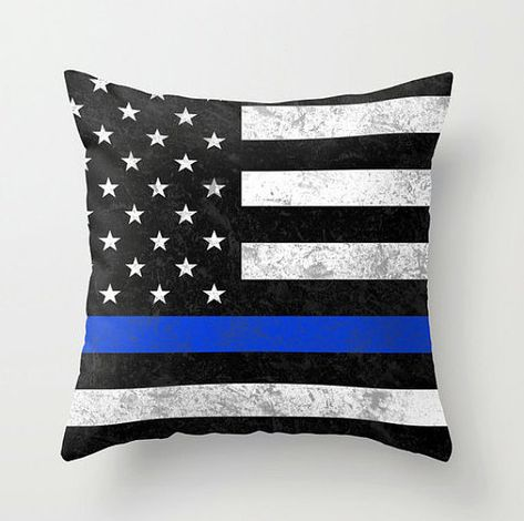 Thin Blue Line Throw Pillow Rectangular & by ForgetSundayDrives