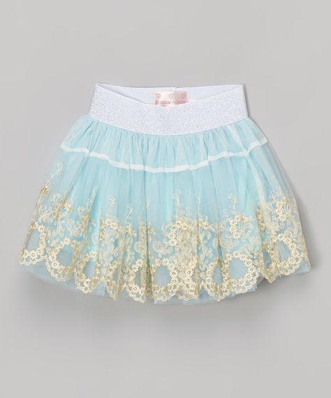 Turquoise Floral Skirt - Toddler & Girls